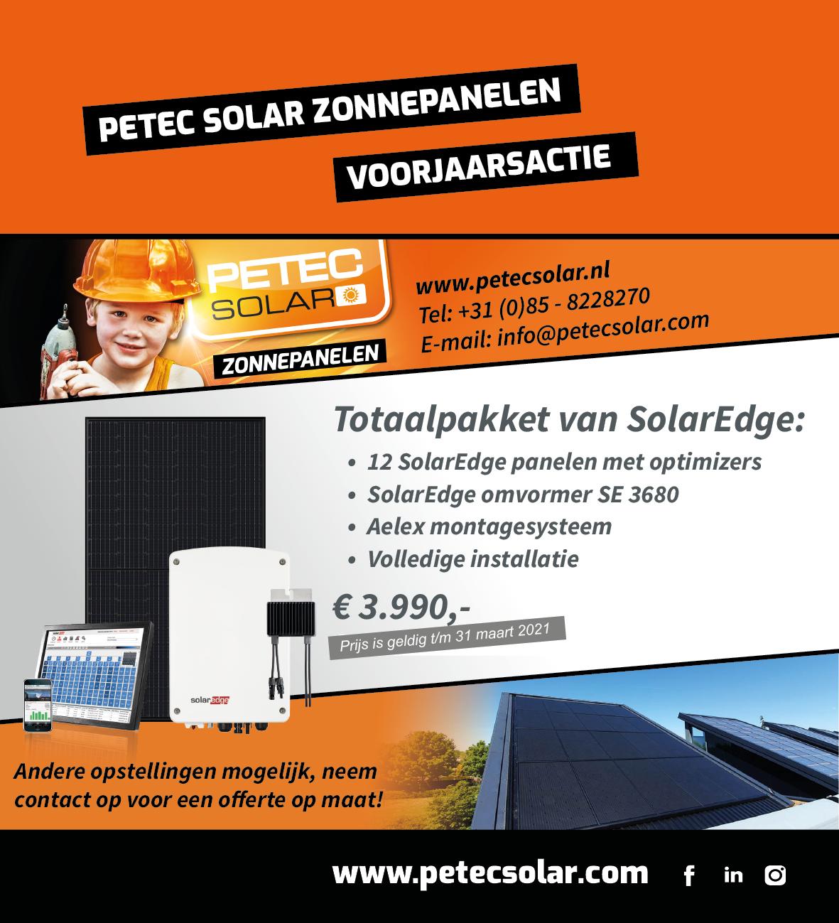 Petec Solar Voorjaarsactie